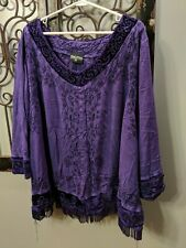 Holy Clothing Blue Renaissance Shirt Top Purple  Embroidered Plus Size 5X
