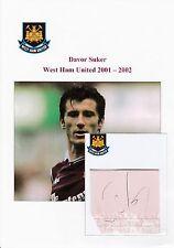 DAVOR SUKER WEST HAM UTD 2001-2002 ORIGINAL HAND SIGNED CUTTING/CARD