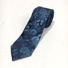 "Express Mens Skinny Teal Blue Floral Flower 100% Silk Neck Tie 2.5"" NWT"