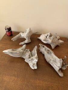Driftwood Pieces x4 natural  sculptures. silver nuggets  vivarium . Bogwood