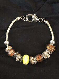 Designer Inspired Glass Bead and Silvertone Snake Chain Bracelet EUC