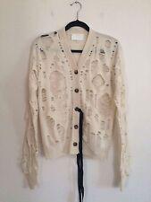 =DISTRESSED= MAISON MARTIN MARGIELA Cream Holes Cashmere Sweater Jacket Cardigan