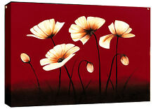 Extra Large Red and Cream Canvas Floral Flower Wall Art Picture 113 x 80 cm A0