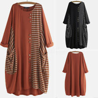 Vintage Femme Simple Loose Couture Bande Manche Longue Col Rond Robe Dresse Plus
