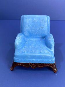 Vtg Renwal Toy Dollhouse Furniture Plastic Blue Living Room 4 Leg Chair L-76