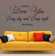 Bob Marley I WAN NA Love You Testo Camera Da Letto Muro ARTE Citazione In Vinile Adesivo Decalcomania
