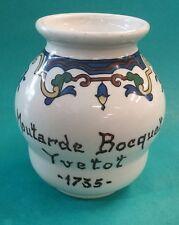 Vintage French Porcelain Moutarde Bocquet Yvetot 1735 White Mustard Jar France