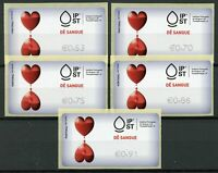 Portugal 2019 MNH Give Blood Tempo Time 5v S/A Label Set Medical Health Stamps