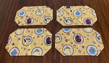 Mary Engelbreit Set of 4 Vinyl Placemats Yellow Teapots Teabags
