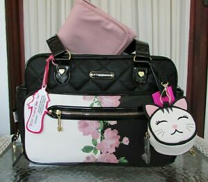 Betsey Johnson Baby Diaper Bag Floral Travel Tote Weekender w Changing Pad NWT