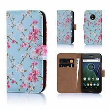 32nd Floral Design Book PU Leather Wallet Case Cover Motorola PHONES Motorola Moto G5 Spring Blue