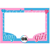Baby Shower Gender Reveal Party Boy or Girl Photo Booth Props Frame Supplies