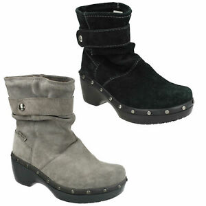 COBBLER STUD LADIES CROCS PULL ON LEATHER CASUAL HEELED WINTER ANKLE BOOTS SHOES