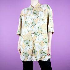 86fae9b1d468d VINTAGE Hawaiian Nude Green White Pattern Floral 90s Oversize Silk Shirt Top  L