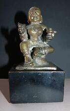 19TH CENTURY INDIAN BRONZE SEATED PARVATI WITH LINGAN & CONCH ATTRIBUTES