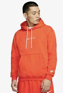 Nike Men's Heavy Fleece Orange Just Do It Hoodie P/O Sweatshirt 2XL CI9406-891