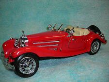 1/18 SCALE DIECAST 1938 MERCEDES BENZ 500K ROADSTER IN RED BY BBURAGO.