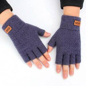 Winter Mens Half Gloves Thermal Thinsulate Knitted Fingerless Warm Mitts Cold