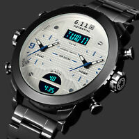 Mens Watch Quartz Digtial Black Stainless Steel Case Time Alarm Analog Display