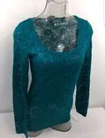 VANITY floral Lace stretch Scoop Neck Blouse Top large Deep Turquoise rtl $22.95
