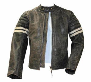 Mens Distressed Black Real Leather with white Stripes Jacket