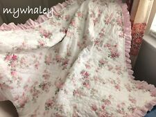 NEW! Quilt BABY BLANKET Throw made w/Simply Shabby Chic Blooming Blossoms Ruffle