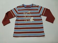 Elle Poupon Boys Size 100 Striped Knit Long Sleeve Bear Shirt Great Condition