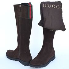 GUCCI New Womens Boots sz 35.5 - 5.5 Auth Designer Web Zip Riding Brown Shoes