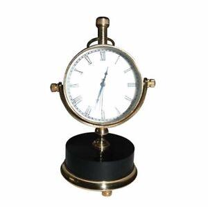 2'' Moon Marble Clock Nautical Watch Quartz Roman Number Brass Made ECs