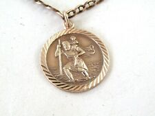 9ct. GOLD NECK CHAIN with ST.CHRISTOPHER  PENDANT - Excellent condition