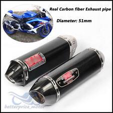 Motorcycle Bike Exhaust system Carbon fiber Exhaust muffler pipe Slip on 38-51mm
