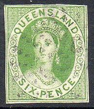 Queensland SG92a 6d Pale Apple Green, Imperf