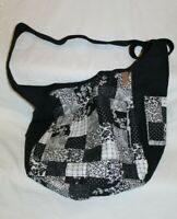 "Donna Sharp Black White Patchwork Shoulder Bag 18""x13"""