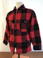 Vintage LL Bean Script Wool Buffalo Plaid Duck Hunting Shirt Jacket Mens Small