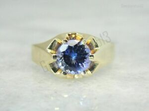 2.50Ct Blue Sapphire Round Diamond Men's Engagement Ring 14K Yellow Gold Plated