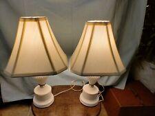 Pair of Vintage Hobnail Milk Glass Table Lamps Boudoir Vanity Bedside & Shades