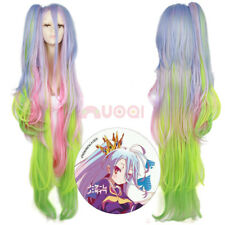 No Game No Life Shiro Cosplay Wig Ombre Mixed Color Long Clip Ponytail Wigs Hair