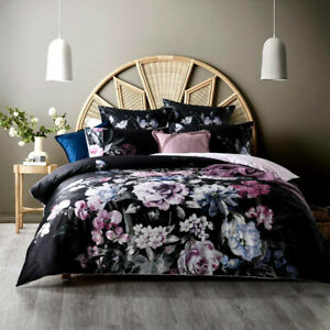 Black Floral Suede Velvet Queen King Super Cotton Velvet Quilt Doona Cover Set