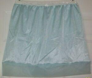 LIGHT BLUE Nylon Tricot SLIP & PANTY  Sheer Hem 28-42 Waist * Length 18  L XL **