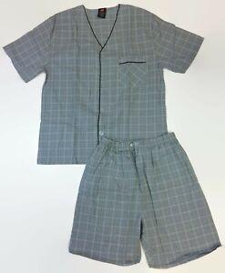 Hanes Mens Gray Black Plaid Woven Short Pajamas Shorty PJs Size Small