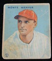 Authentic Baseball Card Monte Weaver Washington Senators
