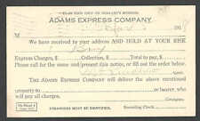 DATED 1918 PC MANSFIELD MA ADAMS EXPRESS CO DELIVERY NOTICE BRING ID