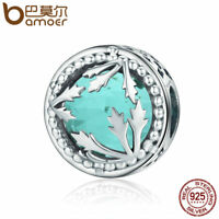 BAMOER 925 Sterling silver Charm With Green Glass Bead &CZ For bracelet Jewelry