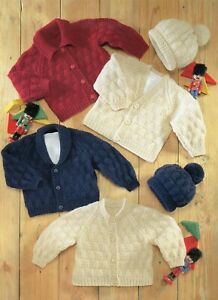 Baby DK Knitting Pattern Cardigan's and Hat Sizes 16 -26 inches #186