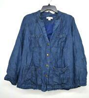 Coldwater Creek Womens Blue Button-Up Long Sleeve Denim Blazer Tencel Jacket 16