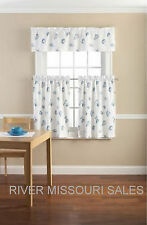 Seashell Speckled Nautical Printed 3 Piece Valance and Tier Set, Blue/White -NEW