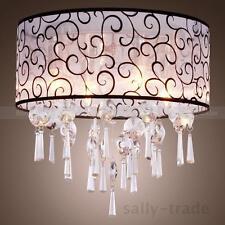 Elegant Crystal Chandelier Ceiling Pendant Lights Drum Flushmount Fabric Shades