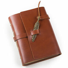 Ancicraft Leather Journal With Feather A6 Blank Paper Red Brown Unique Gift