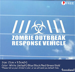 Zombie Outbreak Response Vehicle Reflective Funny  Car Sticker Decal Best Gift