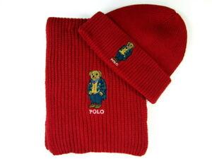 Polo Ralph Lauren Polo Bear Hat & Polo Bear Scarf Red Cotton Blend NWT
